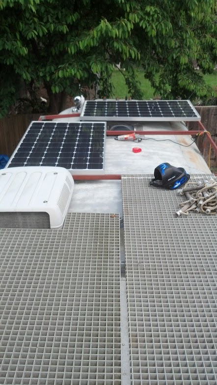 Solar panels in their proper locations preparing to mount.